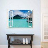 Premium Prachtige Muursticker Open Raam Landschap Zee Vakantie Paradijs Maat M – Muurdecoratie / Wanddecoratie