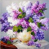 Diamond painting - paarse bloemen - 30 x 30 cm