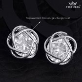 Victorious Zilverkleurige Bloem Bergkristal Oorbellen Nature Collection – Dames Oorbellen
