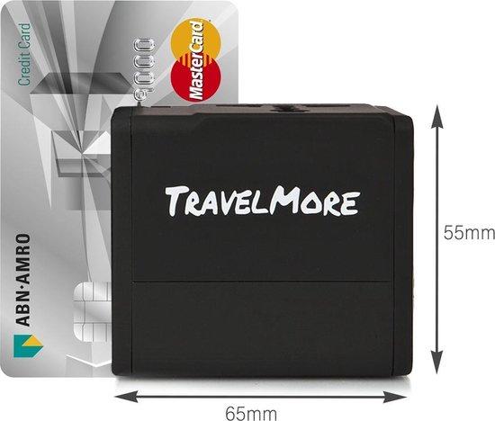 TravelMore Universele Reisstekker met 2 USB Poorten - Internationale Reis Adapter voor 150+ landen - Engeland (UK) - Amerika (USA) - Australië - Azië - Zuid Amerika - Afrika - Wereld Stekker - Oplader – Zwart