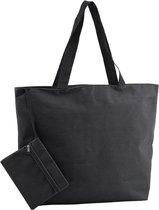 Polyester zwarte strandtas 47 cm - Strandartikelen beach bags/shoppers met ritssluiting