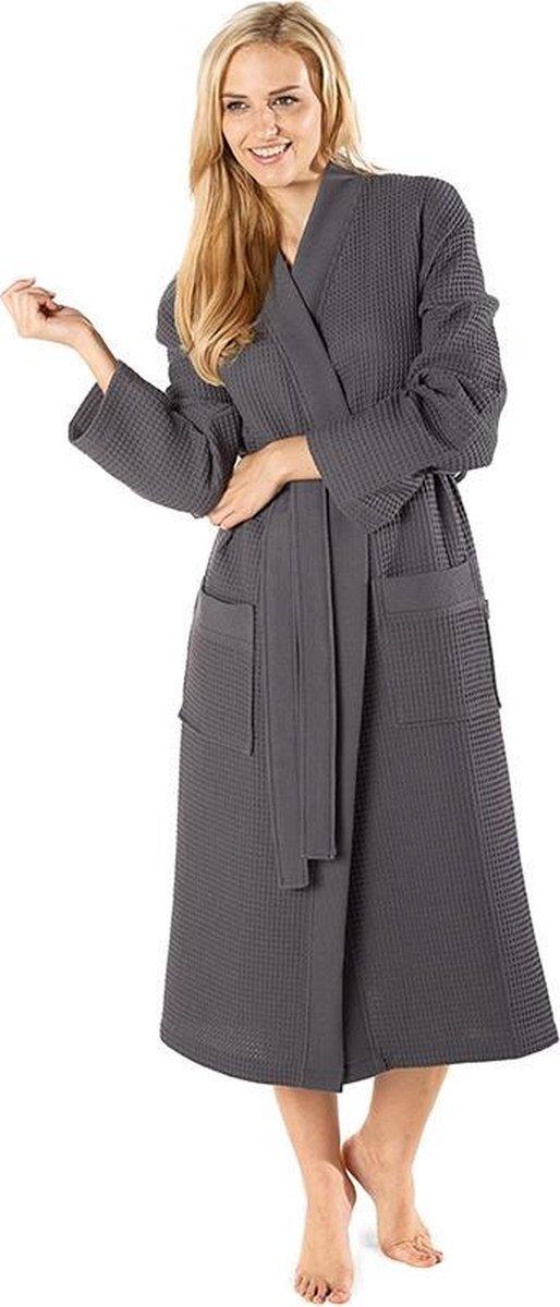 Wafel badjas voor sauna antraciet XL - sauna badjas unisex - biologisch katoen - Badrock