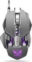 ZERODATE X300GY Bedrade mechanische macro's Definiëren 7 programmeerbare toetsen 4000 DPI Max instelbare gamingmuis met achtergrondverlichting (grijs)