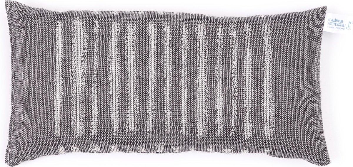 Saunakussen -Ladossa- linnen, zwart, 22x44 cm (Alajärven Kotitekstiili, Finland) - Alajärven Kotitekstiili