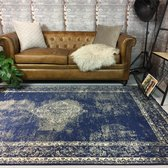 Vintage vloerkleed Infinity 120x170 - Blauw/Donkerblauw