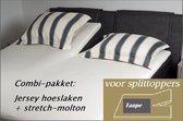 Cevilit Hoeslaken Split topper jersey hoeslaken (Taupe)  + stretch-molton 180 x 200-220. Combi-voordeelpak