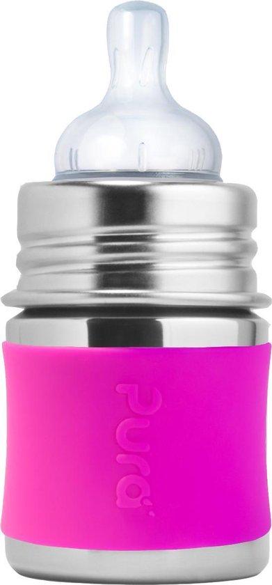 Pura Kiki speenfles 150 ml inclusief roze sleeve en reisdop
