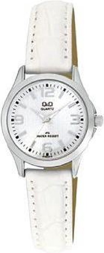 Q&Q horloge voor vrouwen wit leren band.