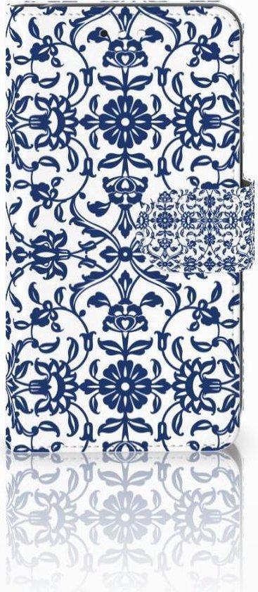 Motorola Moto C Plus Uniek Wallet Book Case Hoesje Flower Blue