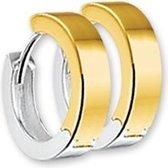 The Jewelry Collection klap-oorringen 2,5 mm Vlak - Bicolor Goud (14 Krt.)