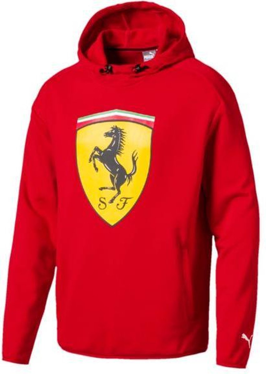 PUMA Ferrari Big Shield Hooded Sweat Heren - Rosso Corsa - PUMA