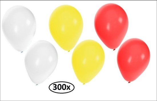 300x Ballonnen rood/wit/geel - Ballon helium carnaval oeteldonk festival feest party landen