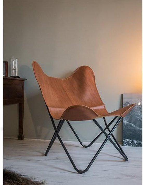Klassieke vlinderstoel cognac butterfly chair design stoel