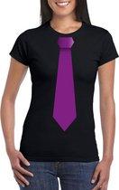 Zwart t-shirt met paarse stropdas dames 2XL