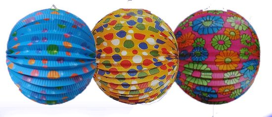 3 stuks - Lampion - Lampionnen - brandvertragend - assorti kleur