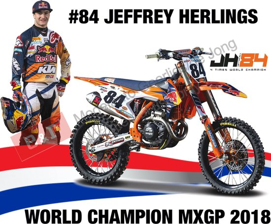 Afbeelding van KTM 450 SX-F #84 Jeffrey Herlings (Dutch Rider) Red Bull KTM Supercross  World Champion 2018 1-18 Burago speelgoed