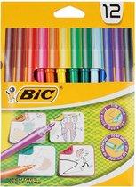 12 Kleurstiften - Viltstiften - merk BIC - kwaliteit - dunne punt - voor kinderen als volwassenen - kleuren - stiften - tekenen - knutselen