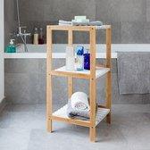 Bathroom Solutions - 3-Laags handdoek opbergrek Bamboe (bruin/wit)