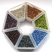 Nellie Snellen rocailles glaskraaltjes natuurtinten aardetinten wit/bruin/groen/blauw/grijs/beige - 2mm - 7 kleuren kleine kraaltjes doosje-3