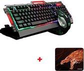 Bedrade Rainbow LED Verlichte achtergrondverlichting Ergonomisch USB-gamingtoetsenbord + 3200 DPI 6 knoppen Optische Gamer-muis Sets + Muismat (willekeurig)