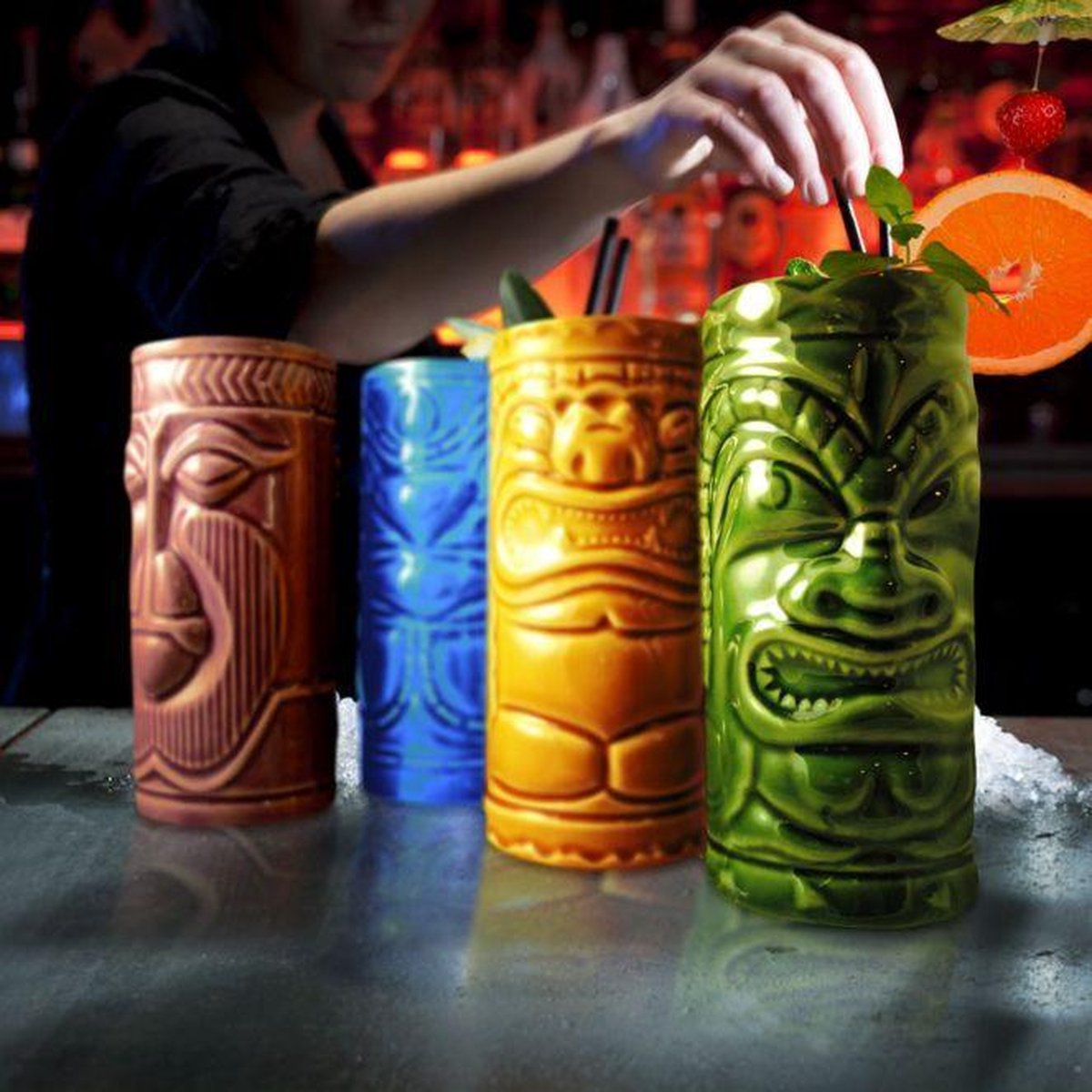 MikaMax Tiki Mugs - Beker - Hawaii Decoratie - Mok - 4 Stuks - Groen/Paars/Geel/Blauw