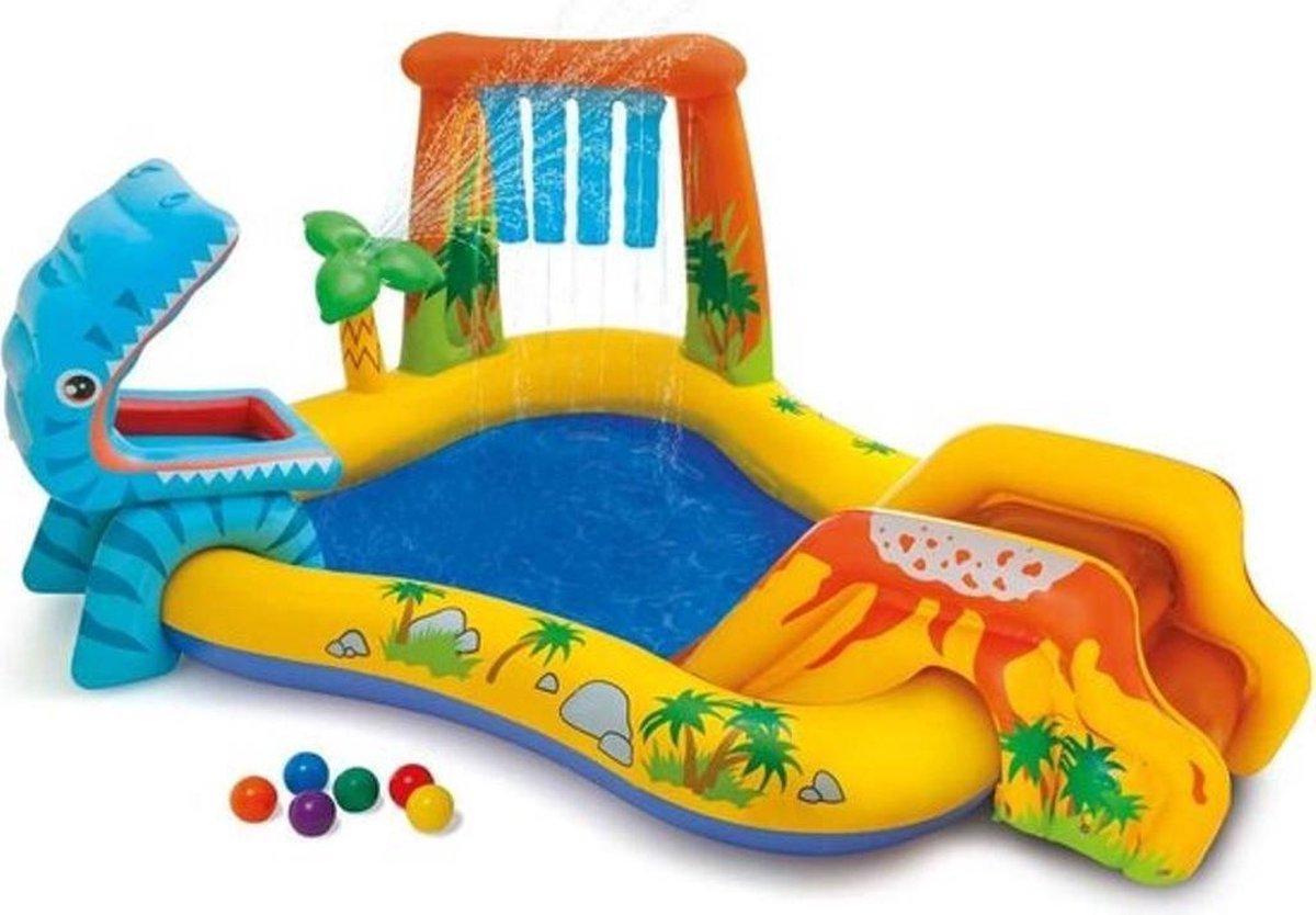 Waterpretpark Zwembad - dinoland - Waterpret- Zwembad voor Kinderen- Speelzwembad- Zwembad met Glijbaan