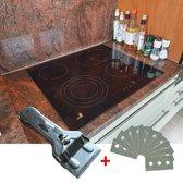 Kookplaat Krabber Schraper Met Reservemesjes Voor Keramische / Halogeen / Inductie Kookplaten - Glasschraper - Glas Mes Schraper - Roestvrij Staal - 10 extra mesjes