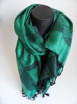 Mooie hippe sjaal figuren lengte 180 cm breedte 70 cm kleuren groen zwart franjes.