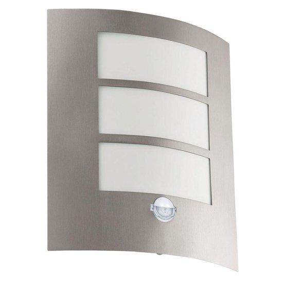 EGLO City Wandlamp - Voor buiten - Met Sensor - 1 Lichts - RVS - Wit