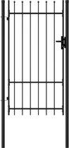 vidaXL Poort met puntige bovenkant enkel 1x1.75 m staal zwart