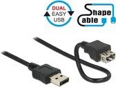DeLOCK 1m 2xUSB2.0-A USB-kabel USB A Zwart