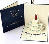 3D wenskaart Happy Birthday verjaardagstaart - verjaardagskaart - Blauw - Pop-up kaart - Kaart verjaardag - Kaart Taart