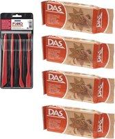 Terra boetseerklei van DAS 4 x 500 gram inclusief boetseer gereedschap setje - Hobby boetseer klei met gereedschap
