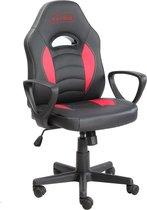 NÖRDIC GAME-N1002 – Gaming stoel van kunstleer, hoogte verstelbaar, verstelbare armleuningen, max.  gewicht 100kg, zwart - rood