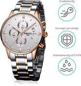 NIBOSI - Heren horloge - Luxe roségoud design - Ø 42 mm - Roestvrij staal