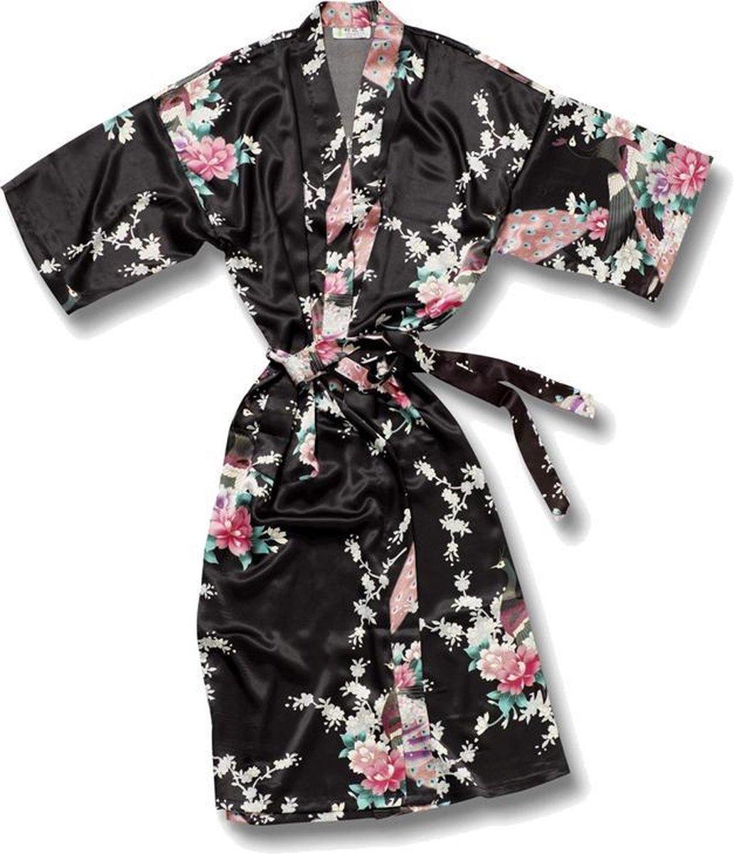 TA-HWA Kimono met Pauw Motief Zwart Dames Kimono L