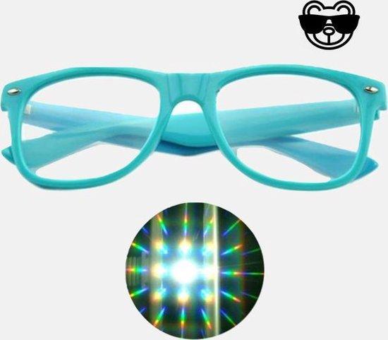 Blauwe Spacebril Met Diffractie Effect   Diffractiebril Originele Diffractieglazen