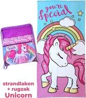 Unicorn strand handdoek 70x140 | kinder rugzak meisje + eenhoorn strandlaken | BS11