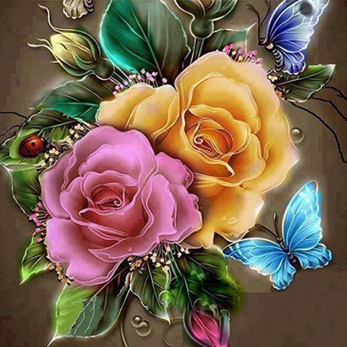 Happy Painter® Diamond Painting volwassenen - Bloemen met vlinders - 40x40cm