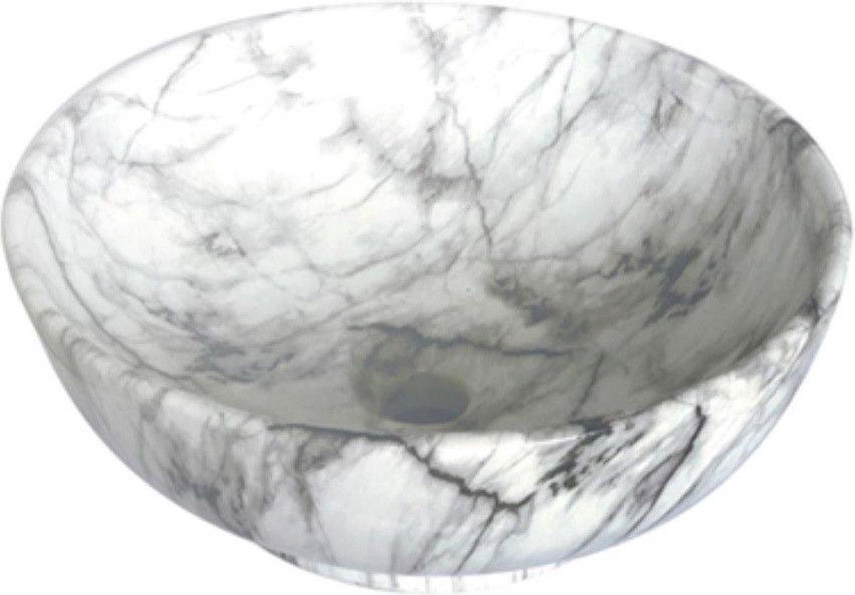 Aloni Zebra Opbouw Waskom - 41x18cm - Keramiek - Zwart/Wit