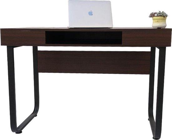 Bureau computer tafel Stoer - sidetable - industrieel vintage - zwart metaal bruin hout