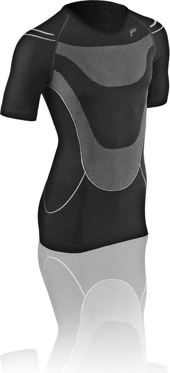 F-Lite | Megalight 140 | zweetshirt L | Regulerende kleding | Thermokleding | Zwart / Grijs | Onderkleding | Korte mouw | Fietsen | Wintersport | Base layer | Onder shirt voor alle jaargetijden