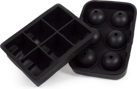IJsblokjesvorm silicone met deksel - Ijsballenvorm - Ice Cube Tray - 6 Ijsballen/6 ijsklontjes  - Duo XL -  Incl. Trechter