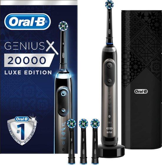 Oral-B Genius X 20000 Luxe Edition Oplaadbare Elektrische Tandenborstel – 1 Antracietgrijs Handvat, 4 Opzetborstels, 1 Slimme Reisetui