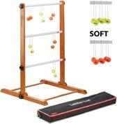 Prof. Laddergolf Spinladder set van Ubergames. SOFT ballen: Fluor Geel, Oranje Laddergolf set