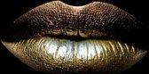 Glasschilderij - schilderij fotokunst - gouden lippen - foto print op glas - 120x80 - woonkamer slaapkamer