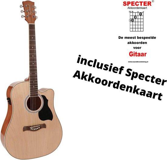 Richwood semi akoestische gitaar met handige akkoordenkaart