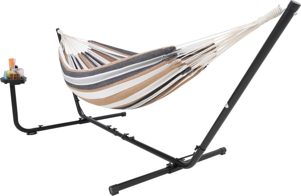 Hangmat met Standaard 2 Persoons met Bekerhouder - Blauw / Wit / Bruin VITA5