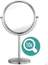 Omliox Make Up en Scheer Spiegel - Metalen Ronde Standspiegel - 10x Vergroting - Ø19cm