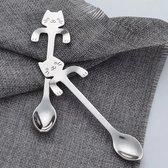 8 Theelepels Hangende Kat - Katten Koffielepel - RVS - Zilverkleurig